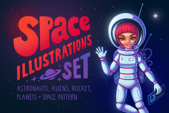 Cartoon Space Illustration Set
