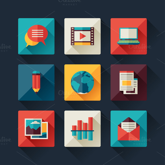 Set Of Blog Icons In Flat Style