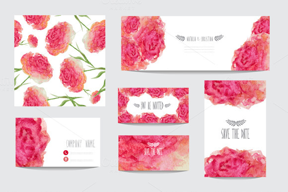 Watercolor Floral Card Templates