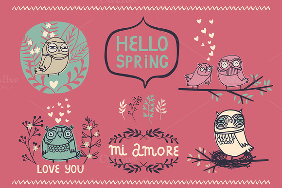 Hello Spring Set With Owls