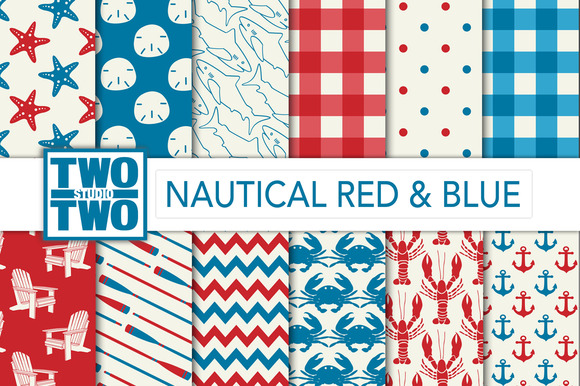 Nautical Digital Paper Red And Blue