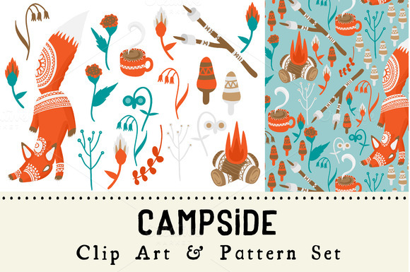 Campside Clip Art And Pattern Set