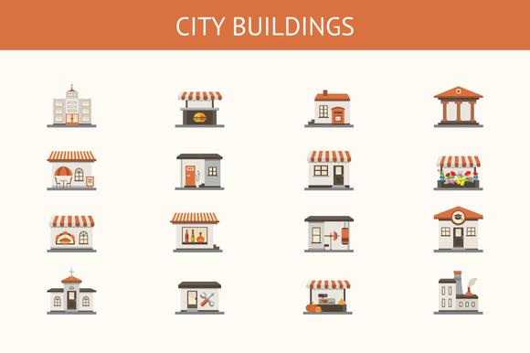 City Buildings Vector Icon Set