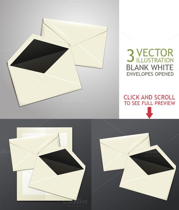 Blank White Envelopes Opened
