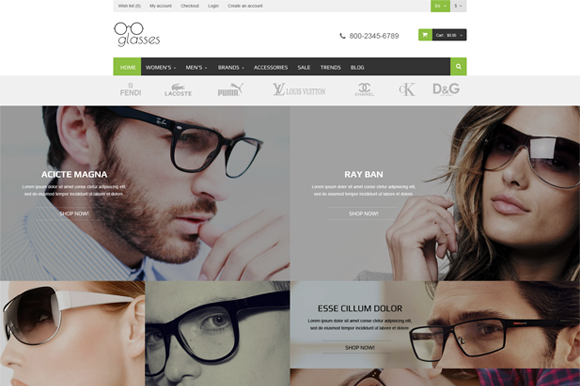 Glasses Responsive Magento Theme
