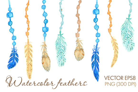 Watercolor Feathers And Arrows Set
