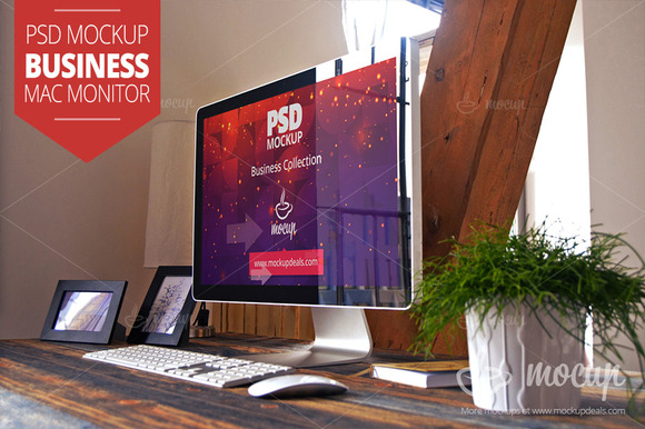 Mac Monitor PSD Mockup Business C