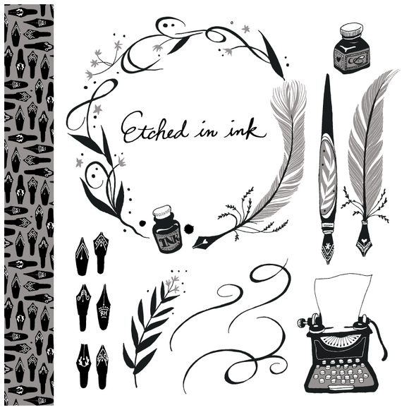 Etched In Ink Vector Clip Art Set