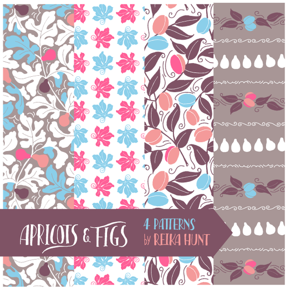 Apricots Figs Vector Pattern Set