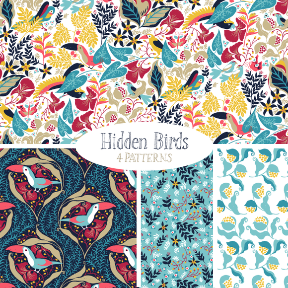 Hidden Birds Vector Pattern Set