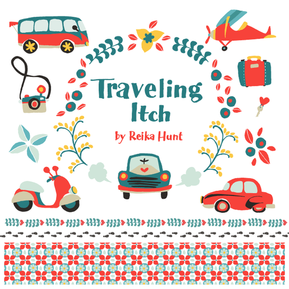 Traveling Itch Vector Clip Art Set