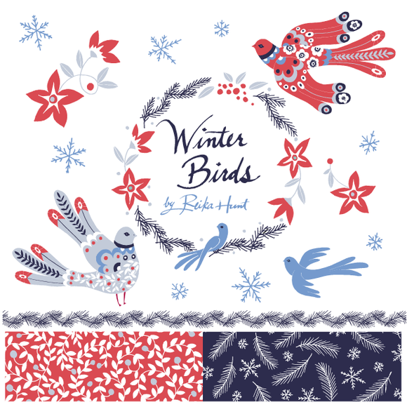 Winter Birds Vector Clip Art Set