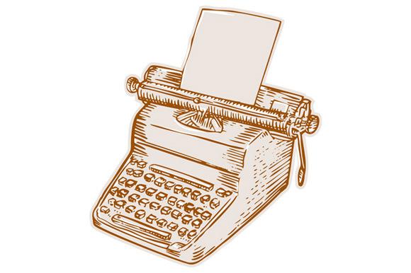 Vintage Old Style Typewriter Etching