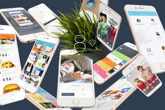 8 Sketch 3 Mobile UI Kit