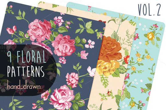 9 Floral Patterns Vol2