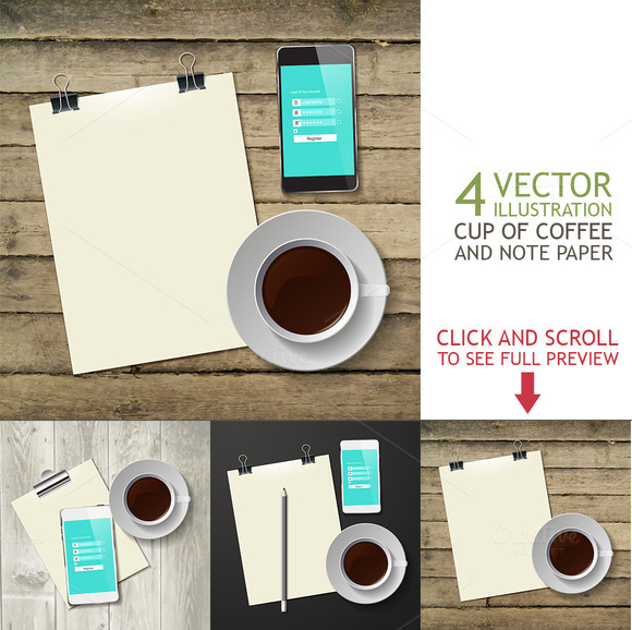 Cup Of Hot Coffee And Note Paper
