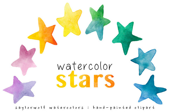 Watercolor Rainbow Stars Clip Art
