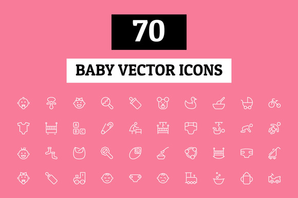 70 Baby Vector Icons