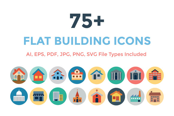 75 Flat Building Icons