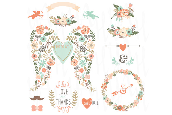 Floral Angle Wing Wedding Elements