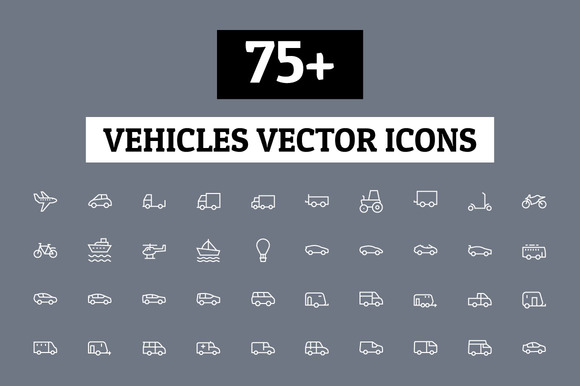 75 Vehicles Vector Icons