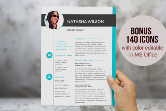 2 In 1 Turquoise Photo Word Resume