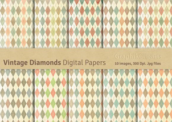 Vintage Diamonds Digital Papers