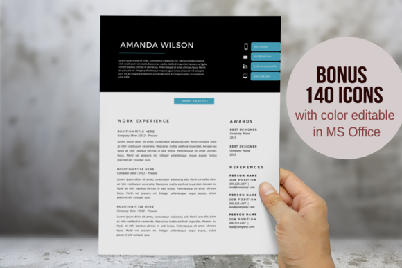 Blue 2 In 1 Word Resume Template