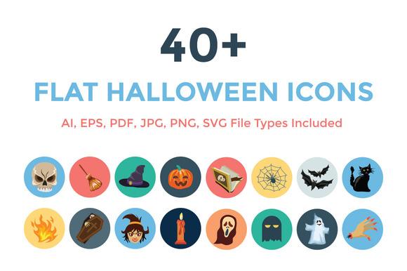 40 Flat Halloween Icons
