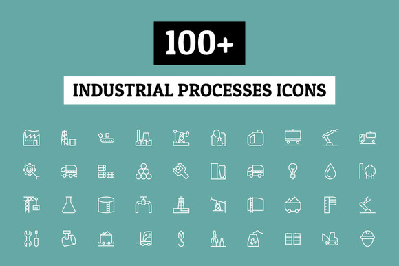 100 Industrial Processes Icons
