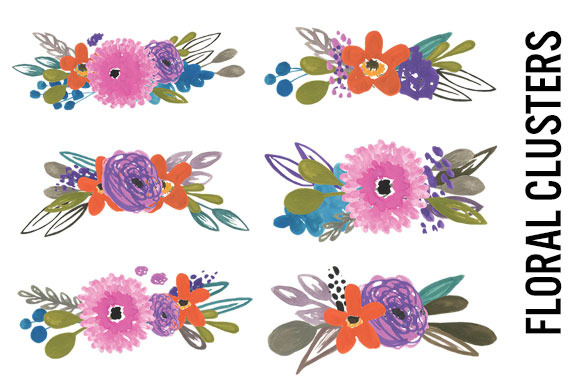 Watercolor Flower Bunches