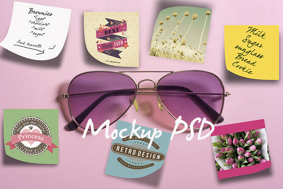 Mockup-pink Sunglasses And Notes
