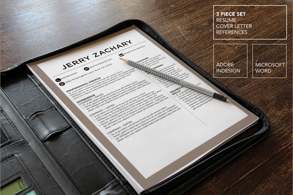 Beige Resume Template Word InDesign