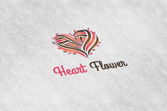Heart Flower Logo Template