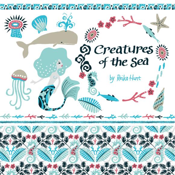 Creatures Of The Sea Clip Art Set