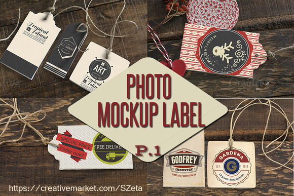 Photo Tags-label Mockup