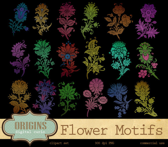 Flower Motifs Clipart