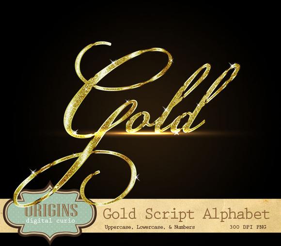 Gold Glitter Script Alphabet Clipart