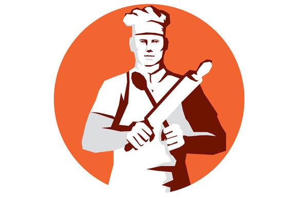 Chef Cook Rolling Pin Spatula Stenci