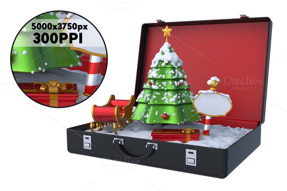 Christmas Scene Inside Suitcase 3D