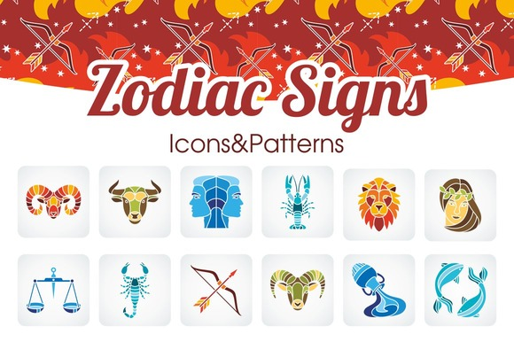 Zodiac Signs Icons Patterns