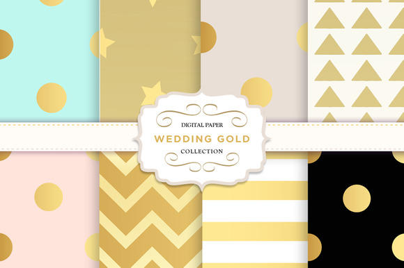 Gold Digital Paper Patterns Dots