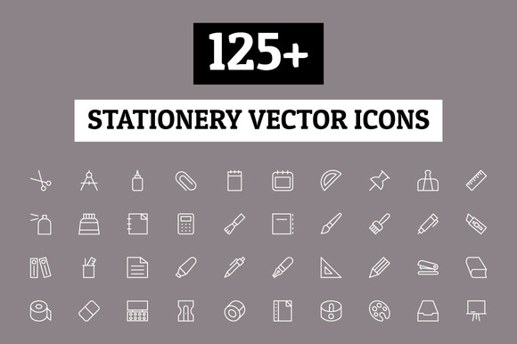 125 Stationery Vector Icons