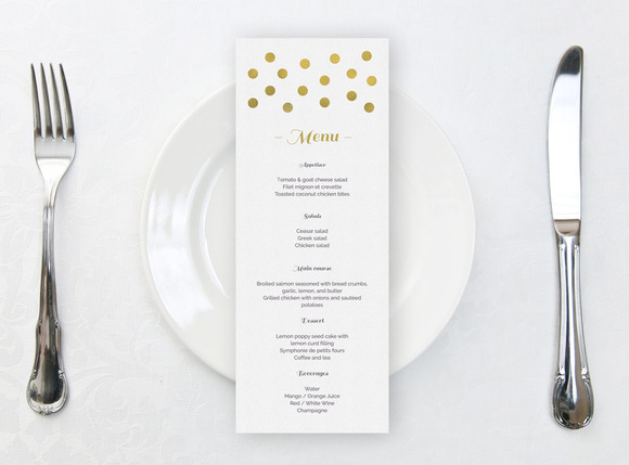 Wedding Menu Gold Confetti