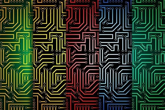 Circuit Board Seamless Patterns Set