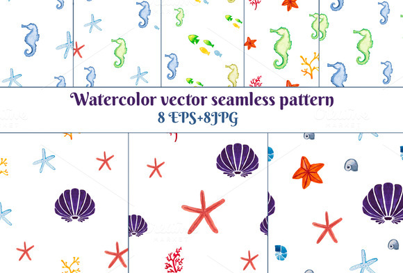 8 Watercolor Sea Seamless Pattern