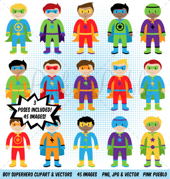 Boy Superhero Clipart Vectors