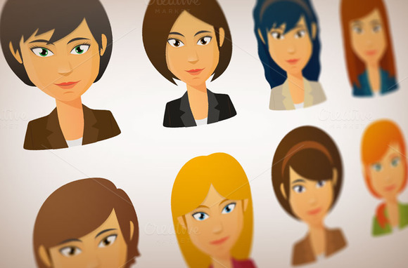 Girl With Different Hairstyles