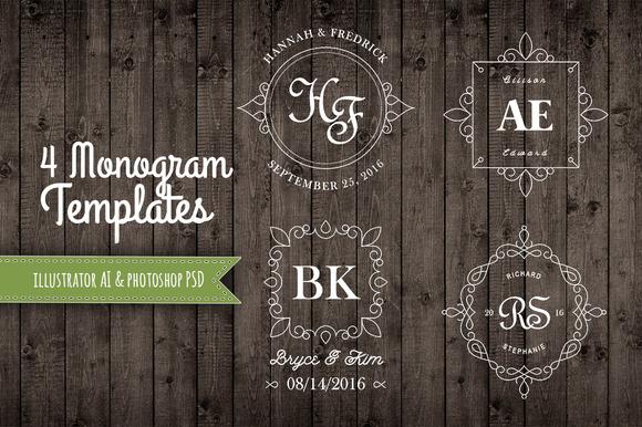 4 Decorative Monogram Templates AI