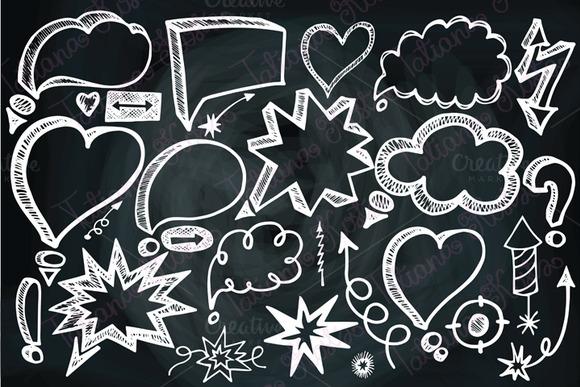 Speech Bubbles Doodle Arrows Chalk